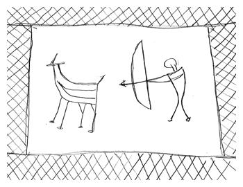 弓による古代の狩猟の様子